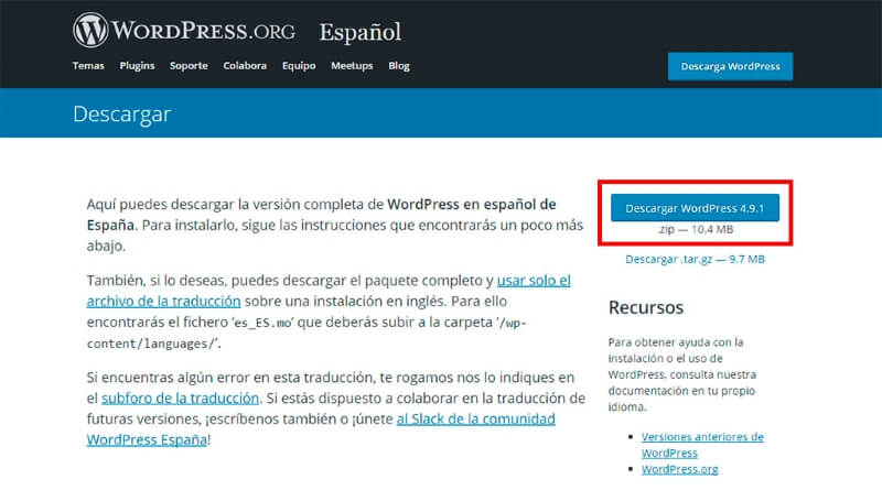 descarga ultima version wordpress