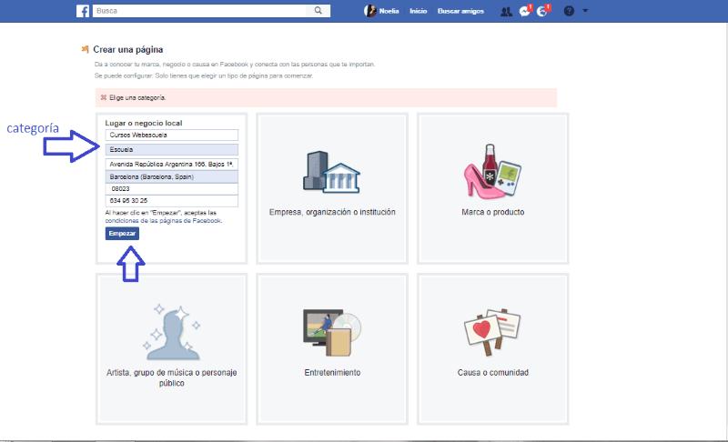 Categoría de la página de Facebook