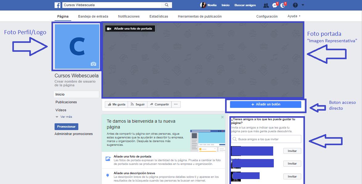 Opciones de edición de la Fan Page