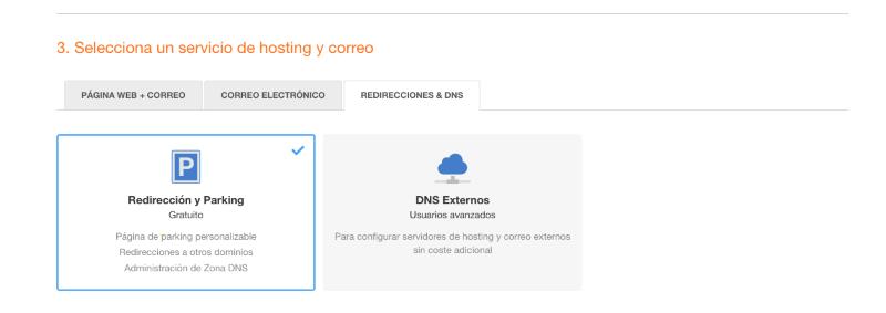 Seleccionar un servicio de hosting y correo