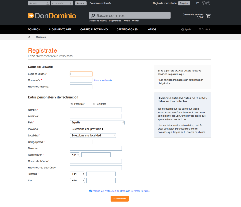 Crear una cuenta de cliente en Dondominio