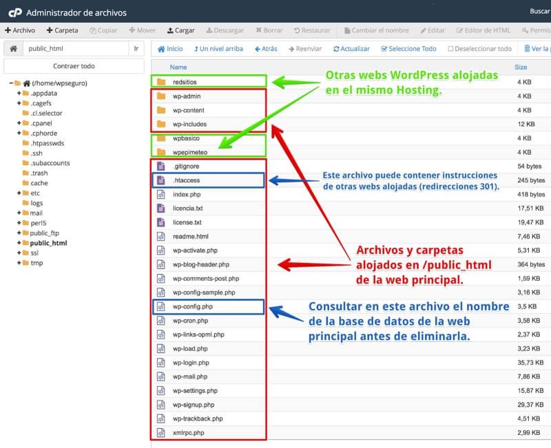 Vista de archivos en WP de Webempresa