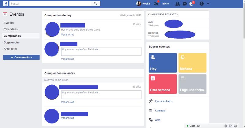 Recordatorio de cumpleaños en Facebook