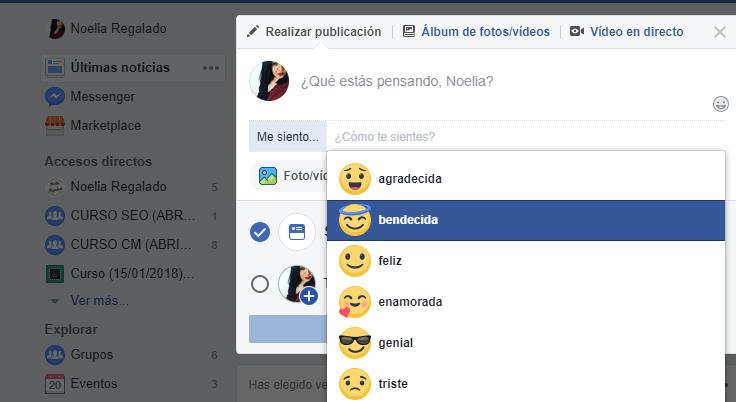 Compartir un sentimiento en Facebook