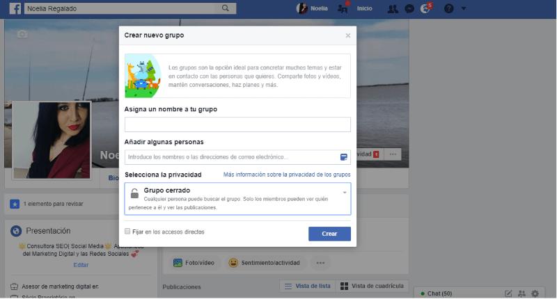 Crear un nuevo grupo de Facebook