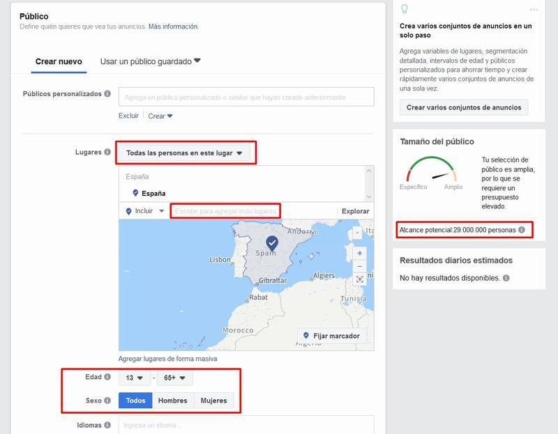 Segmentación de públicos en Facebook Ads