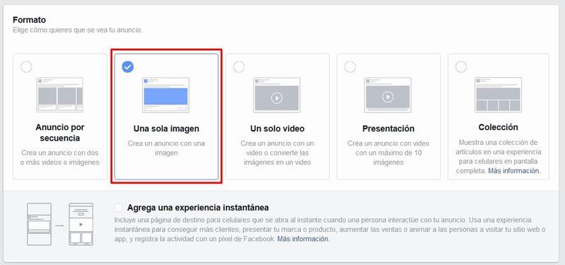Formato de los anuncios de Facebook