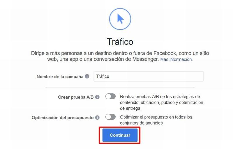 Campaña de tráfico en Facebook Ads