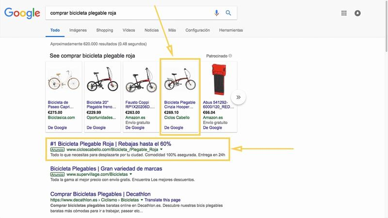 Ejemplo de doble presencia con anuncio de shopping y búsqueda