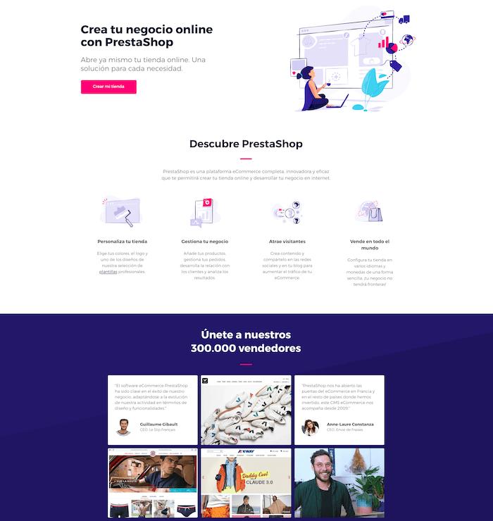 Ejemplo Landing Page de PrestaShop