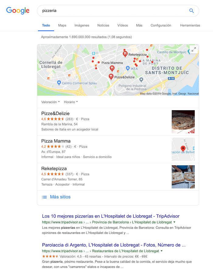 Ejemplo de SEO Local: Pizzerías