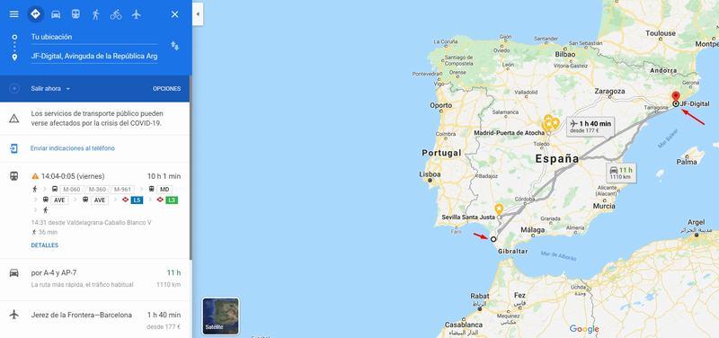 Geolocalización de JF-Digital en Maps