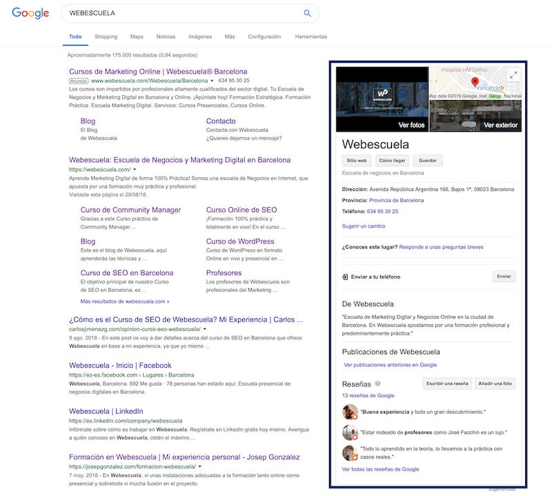 Webescuela en Google My Business