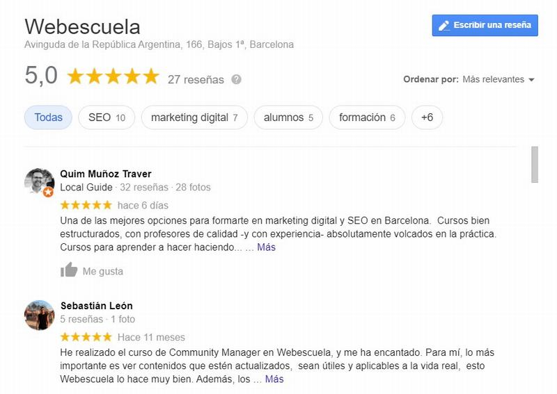 Reseñas de Webescuela en My Business