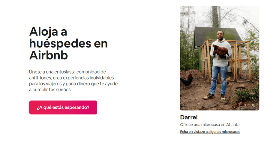 Ejemplo Call to Action Airbnb