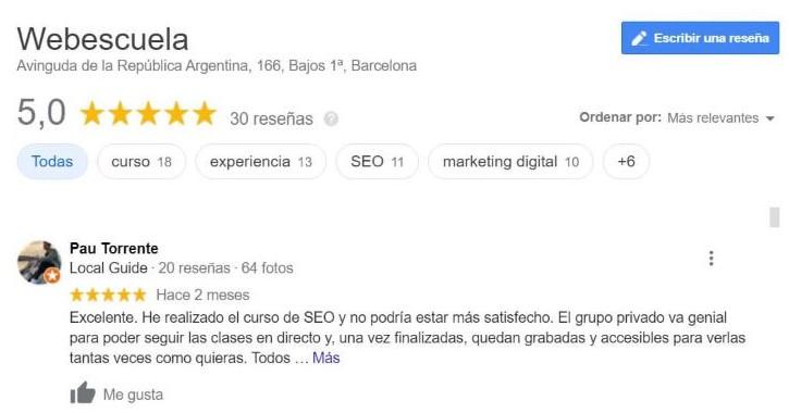 Reseñas Google My Business Webescuela