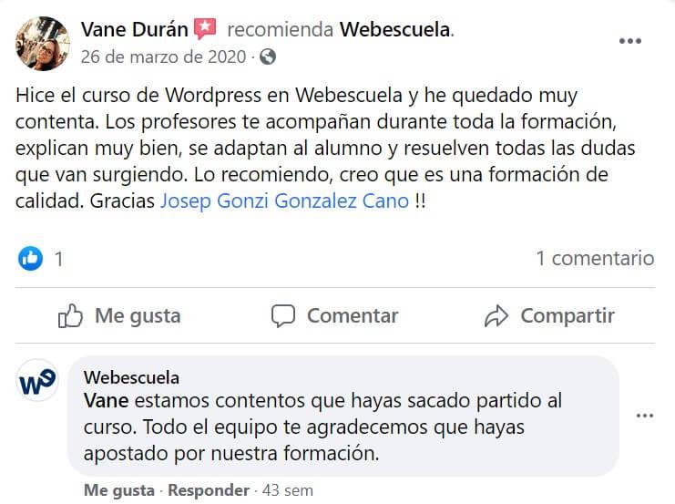 Testimonio en Facebook de Webescuela