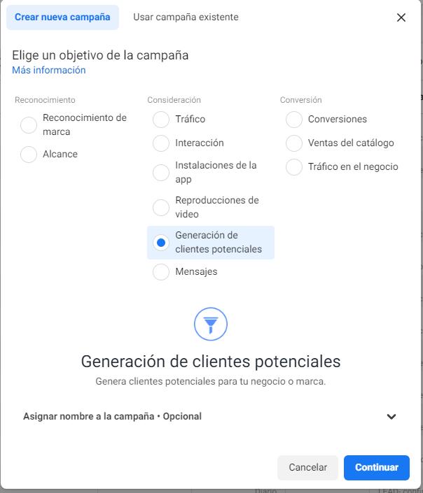 Generación de clientes potenciales Facebook Ads