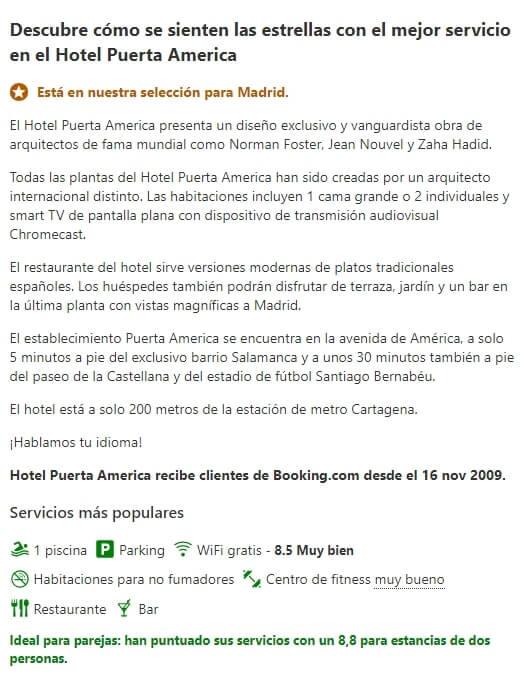 Ejemplo Booking para el sector turismo