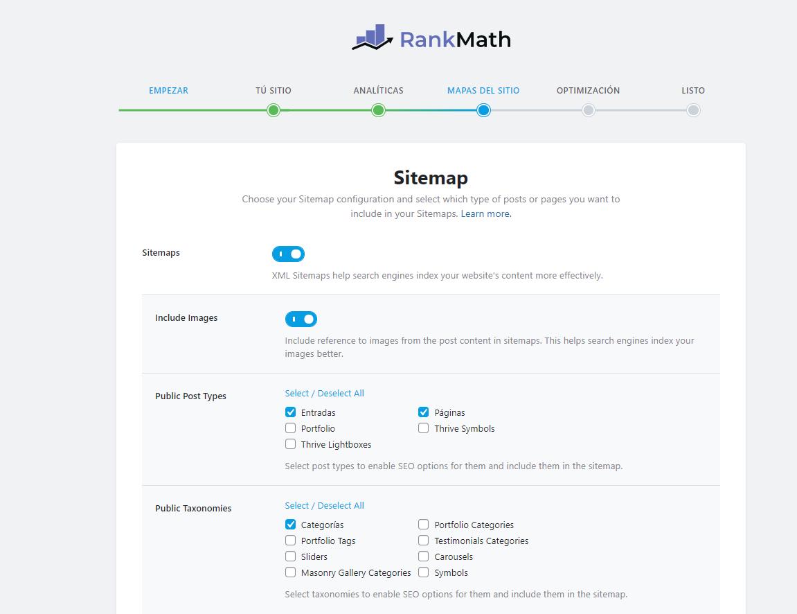 crear un sitemap con rank math