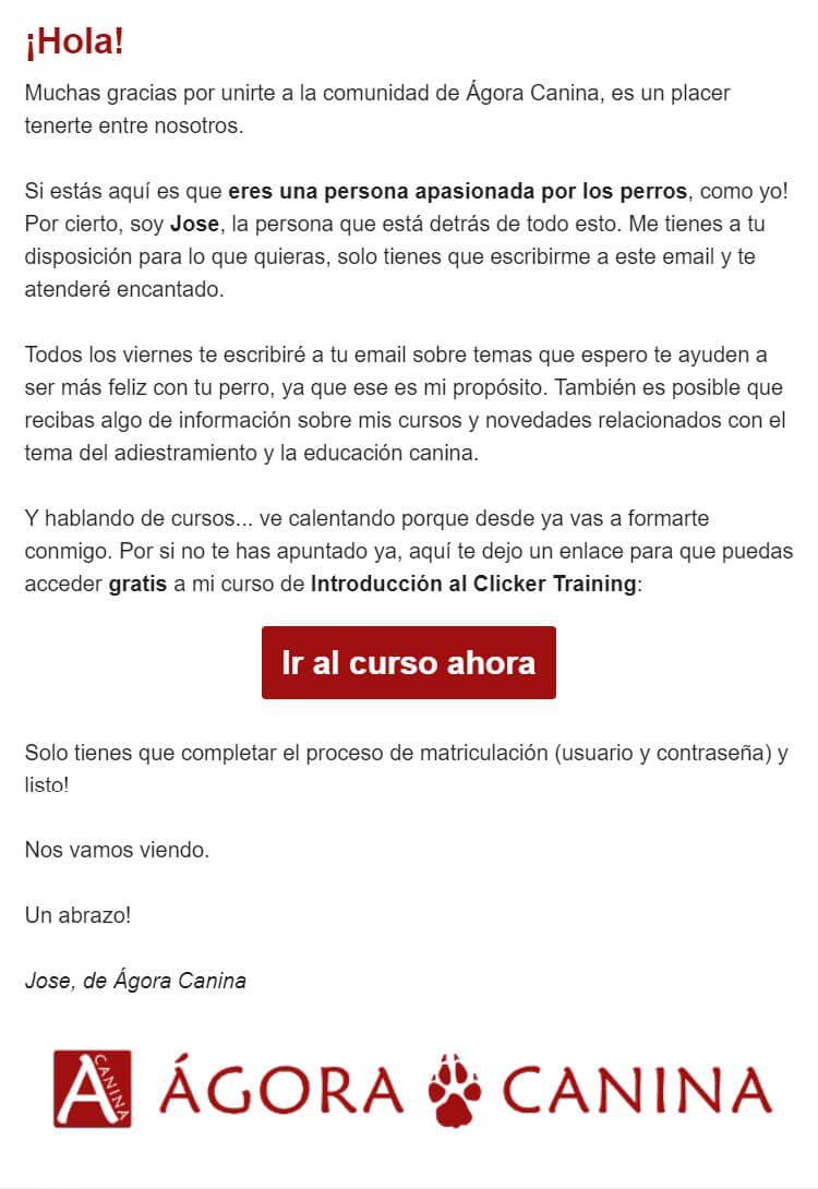 Ejemplo de correo de bienvenida: Ágora Canina