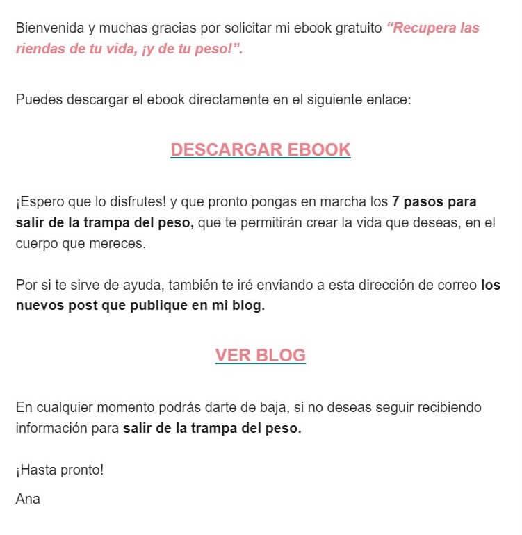 Ejemplo de correo de bienvenida: Ana Mayo